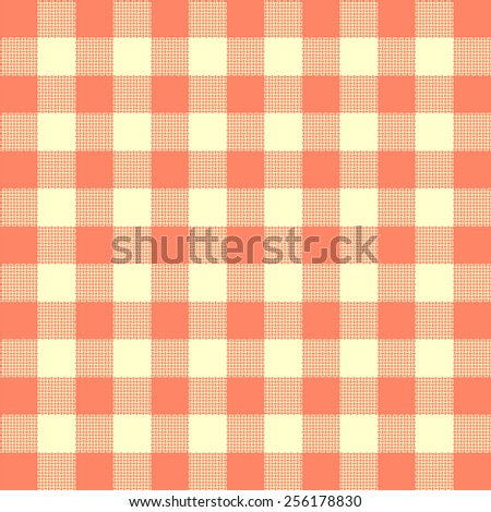 tablecloth woven texture - light red checkered pattern - stock vector