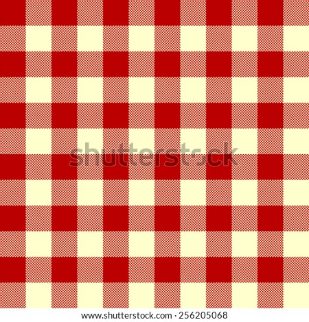 tablecloth woven texture - red checkered pattern - stock vector