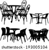 tables and chairs collection - vector - stock vector