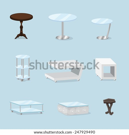 Tables 3D Set - Isolated On Blue Background - Vector Illustration, Graphic Design, Editable For Your Design