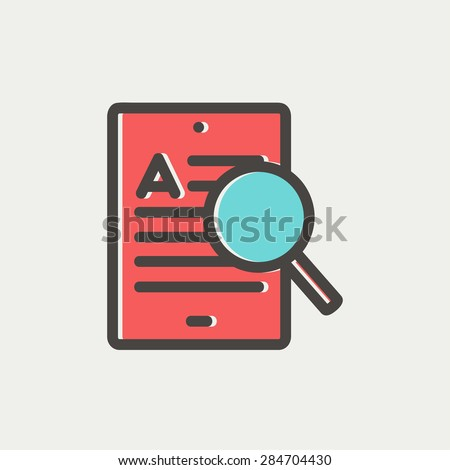 Tablet and magnifying glass searching network icon thin line for web and mobile, modern minimalistic flat design. Vector icon with dark grey outline and offset colour on light grey background. - stock vector