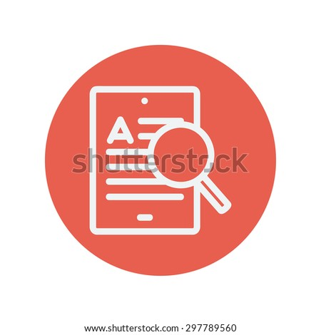 Tablet and magnifying glass searching network thin line icon for web and mobile minimalistic flat design. Vector white icon inside the red circle. - stock vector