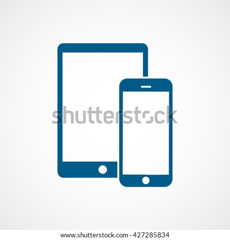 Tablet and Mobile Phone Blue Icon On White Background - stock vector