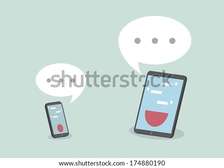Tablet and smart phone with speech bubbles, VECTOR, EPS10 - stock vector