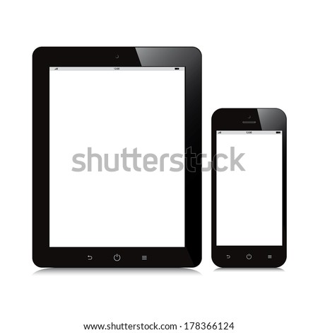 tablet and smartphone blank screen mockup white background - stock vector