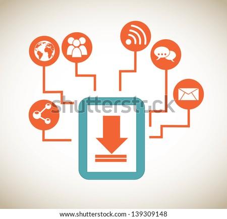tablet apps over beige background vector illustration - stock vector