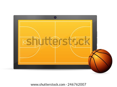Tablet basketball on a white background. Vector illustration.