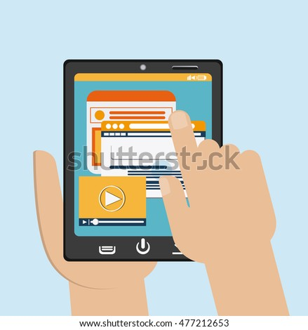 Tablet black website hand search movie device display gadget technology tool icon. Colorful and flat design. Vector illustration