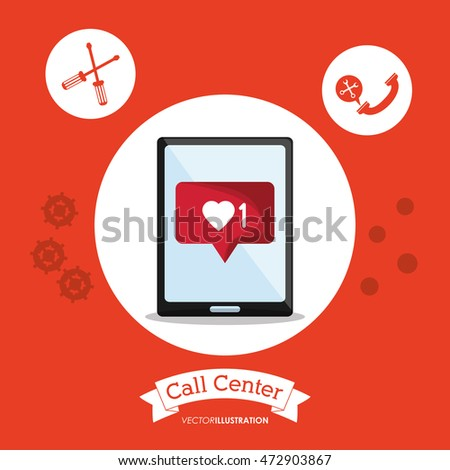 tablet call center technical service icon. Colorful design. Vector illustration