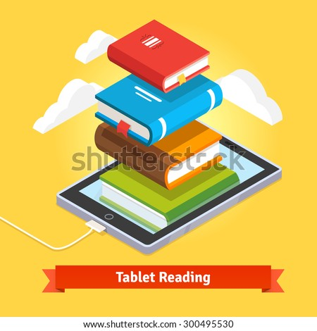 Tablet computer book reading and modern cloud technology mobile education concept. Flat style vector isolated illustration. - stock vector