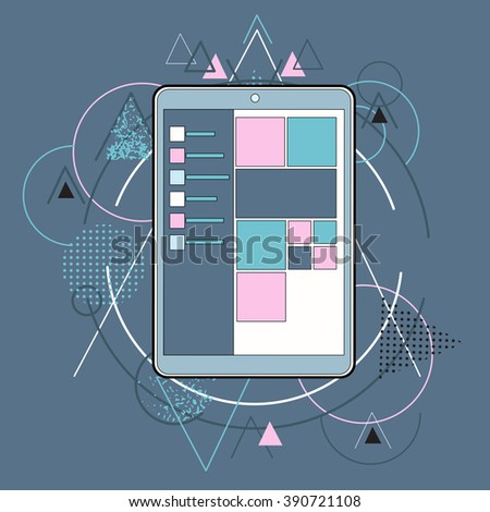 Tablet Computer Device Concept Icon Abstract Geometric Triangular Background  Vector Illustration - stock vector