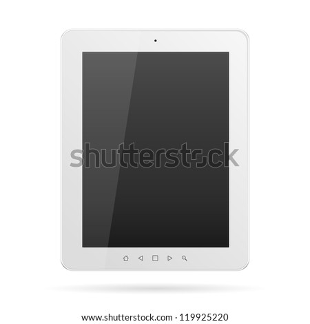 Tablet computer. White frame vector tablet PC isolated on white - stock vector