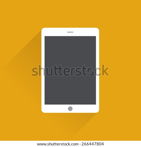 Tablet computer with blank screen. flat design concept. - stock vector