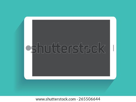 Tablet computer with blank screen. Using digital tablet pc, flat design concept. Eps 10 vector illustration - stock vector