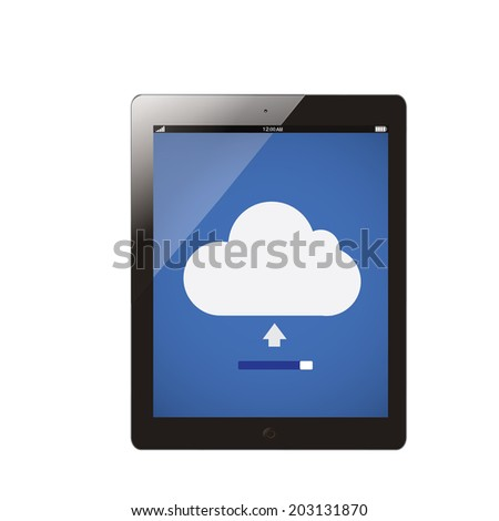 tablet computer with cloud server uploading - stock vector