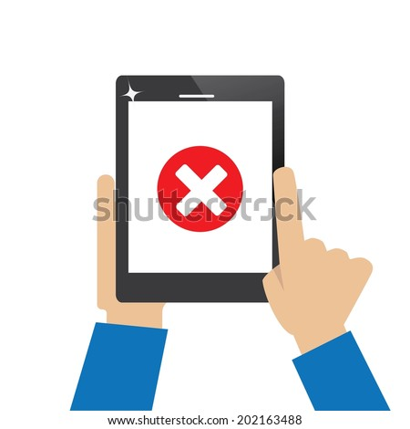 tablet computer with error icon - stock vector