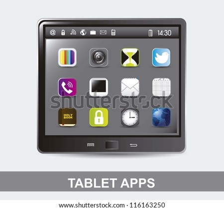 tablet computer with icons of apps. vector illustration