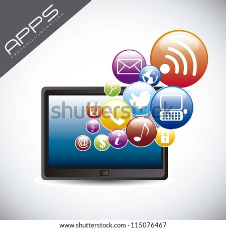 tablet computer with icons over gray background. vector