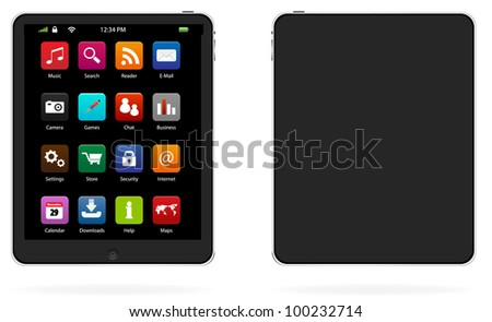 Tablet computer with icons, realistic vector illustration. - stock vector