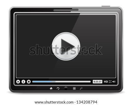 Tablet computer with video player on the screen, vector eps10 illustration
