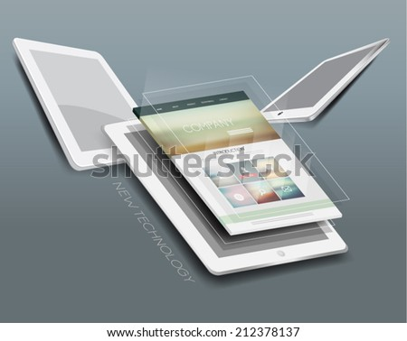 Tablet Computer with Website Template Vector Design