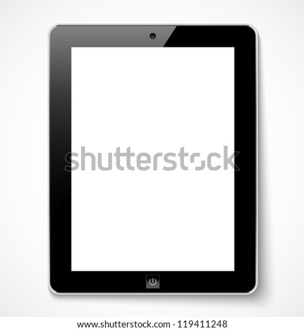 Tablet computer with white screen. Vector illustration - stock vector