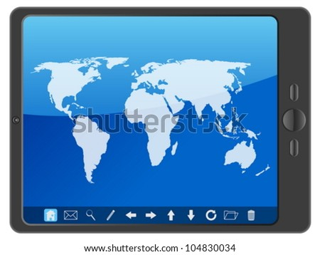 Tablet computer with world map on a white background. Vector illustration. - stock vector