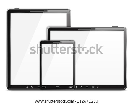 Tablet computers and smart phone, vector eps10 illustration - stock vector