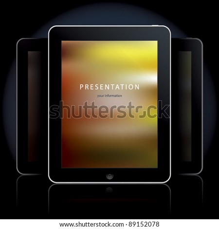 Tablet computers on the black background. Vector illustration. - stock vector