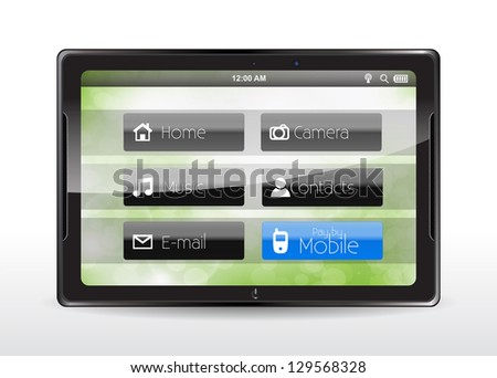 "Tablet concept with a blue ""Pay by Mobile"" button. - stock vector"