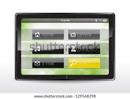 "Tablet concept with a yellow ""Search"" button"