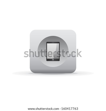 tablet device white shadowed button icon