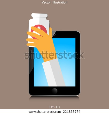 Tablet device with medic help. Eps 10 illustration. - stock vector