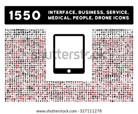 Tablet icon and other web interface, business, tools, people, medical service and awards vector symbols. Style is bicolor flat symbols, intensive red and black colors, rounded angles, white background - stock vector