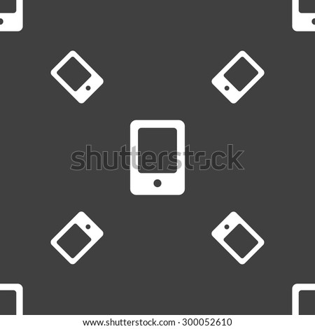 Tablet icon sign. Seamless pattern on a gray background. Vector illustration - stock vector