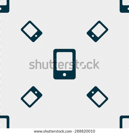 Tablet icon sign. Seamless pattern with geometric texture. Vector illustration - stock vector
