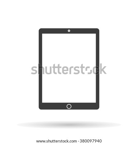 Tablet Icon Vector flat style with shadow,isolated on white background, stylish illustration for web design - stock vector