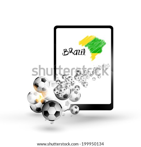 Tablet illustration brazil map with soccer ball,  easy all editable text or other elements - stock vector