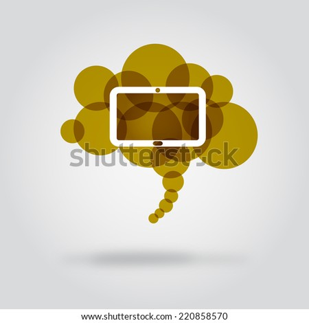 Tablet in bubble cloud. Illustration shows the tablet in the cloud. It can be used in publications of a cloud and mobile technology. - stock vector