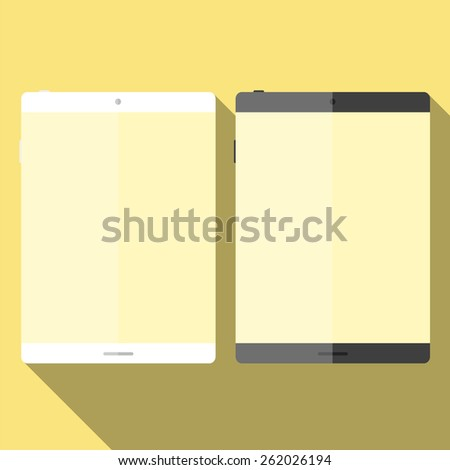 Tablet in flat style with long shadows. Vector kit.