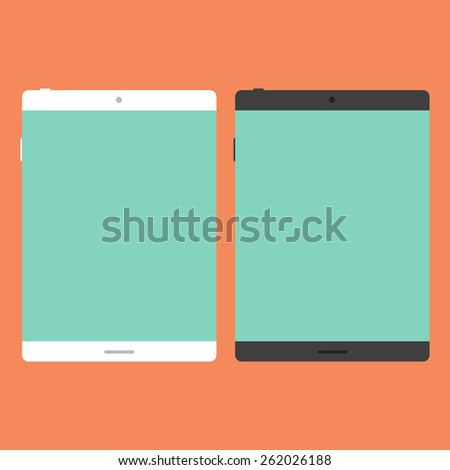 Tablet in flat style without long shadows. Vector kit.