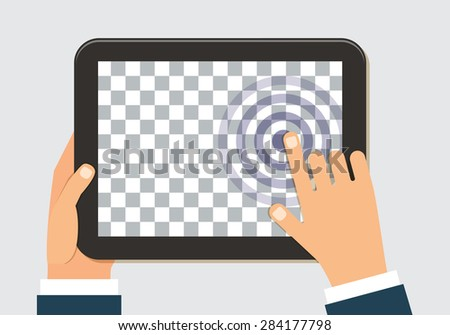 Tablet in hand, transparent screen template for web and mobile applications app. Vector flat design illustration - stock vector