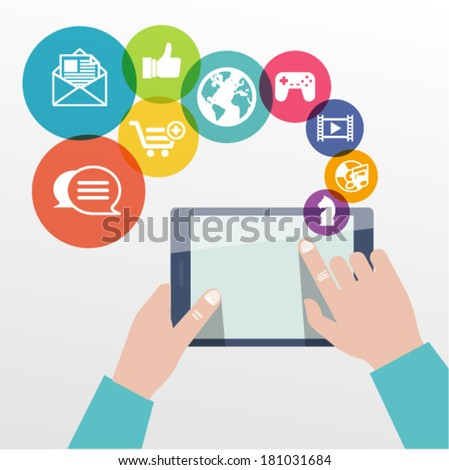 Tablet in hands. Flat vector illustration. - stock vector