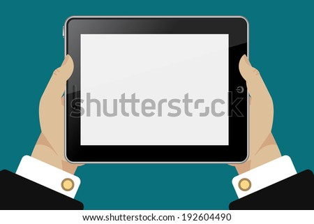 Tablet in hands template for web and mobile applications  - stock vector
