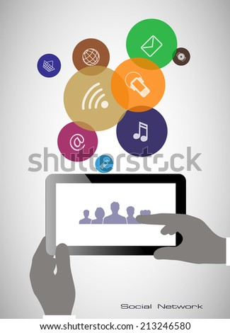 Tablet in his hands. Concept of communication in the network.  - stock vector