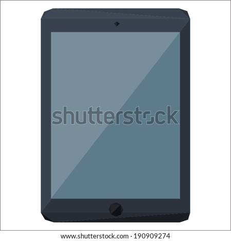 Tablet (iPad) icon by triangles, polygon vector illustration
