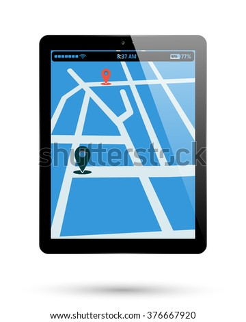 Tablet isolated with map location. PC Tablet with location mark on map. Computer pad with location point. Vector illustration. - stock vector