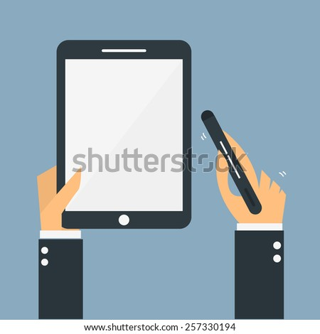 Tablet on hand,Vector cartoon concept abstract business - stock vector