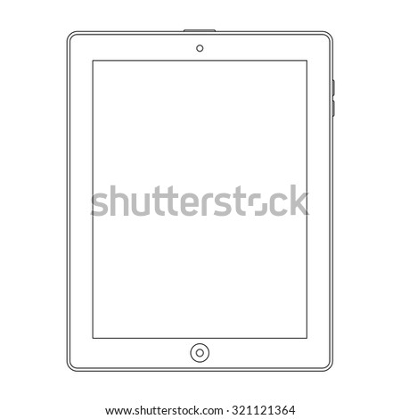 tablet outline icon in ipad style on the white background. stock vector illustration eps10