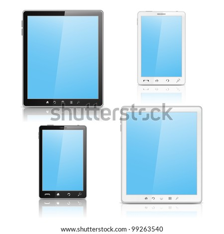 Tablet PC and Mobile Phone, vector eps10 illustration - stock vector
